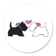 Westie Dog Art Round Round Car Magnet
