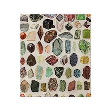 Vintage Geology Rocks Gems Gemstones Throw Blanket