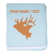 Custom Brown Elk Head baby blanket