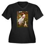 Windflowers Bull Terrier Women's Plus Size V-Neck