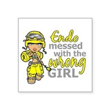 "Combat Girl Endometriosis Square Sticker 3"" x 3"""