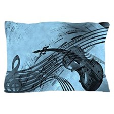 Violin Music Design in Light Blue Pillow Case