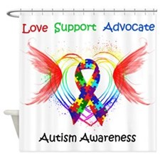 Autism Ribbon with Wings Shower Curtain