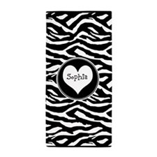 Custom Name Zebra Beach Towel
