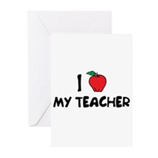 Cute I love my teacher Greeting Cards (Pk of 10)