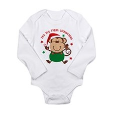 Monkey Boy 1st Chrismas Ls Infant Body Suit
