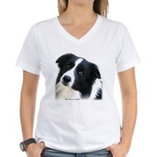 Border Collie Portrait Water Colour Ash Grey T-Shi