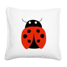 Red Ladybug Square Canvas Pillow