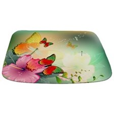 Flowers With Butterflies Bathmat Bathmat