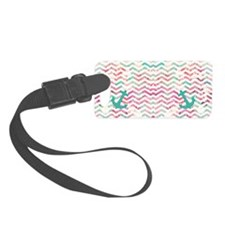 Turquoise Anchor Chevron Pink Ch Luggage Tag