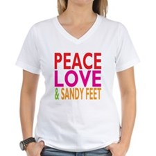 Peace, Love Sandy Feet Women'S V-Neck T-Shirt