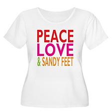 Peace, Love Sandy Feet Plus Size T-Shirt