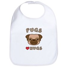 Cute Pugs Love Hugs, For dog lovers Bib