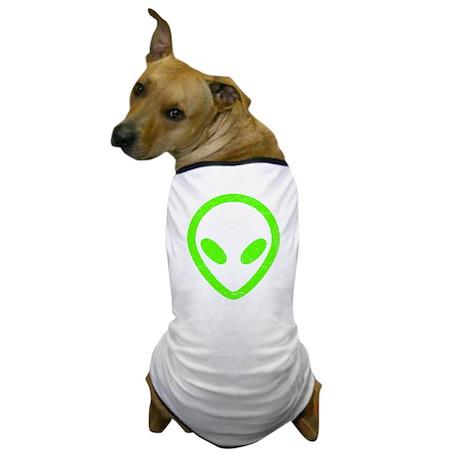 Neon Green Distressed Alien Dog T-Shirt