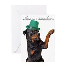 Funny Leprechaun Rottie Greeting Cards