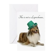 Funny Leprechaun Collie Greeting Cards