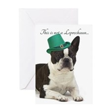 Funny Leprechaun Boston Terrier Greeting Cards