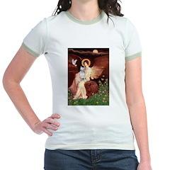 SeatedAngel-BullTerrier (P) Jr. Ringer T-Shirt