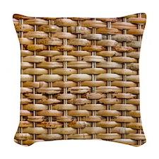 Woven Wicker Basket Woven Throw Pillow