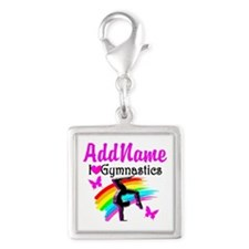 NUMBER 1 GYMNAST Silver Square Charm