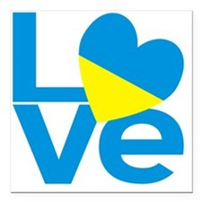 "Blue Ukrainian LOVE Square Car Magnet 3"" x 3"""