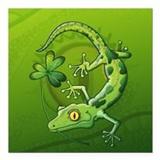 "Saint Patrick's Day Geck Square Car Magnet 3"" x 3"""