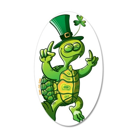 Saint Patrick's Day Turtle 35x21 Oval Wall Decal