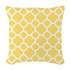 Yellow White Quatrefoil Pattern Woven Throw Pillow