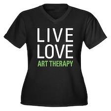 Live Love Ar Women's Plus Size V-Neck Dark T-Shirt