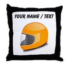 Custom Orange Motorcycle Helmet Throw Pillow