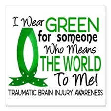 "Means World to Me 1 TBI Square Car Magnet 3"" x 3"""