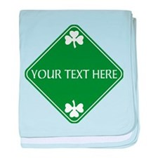 St Patricks Day Border CUSTOM TEXT baby blanket