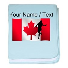 Custom Running Canadian Flag baby blanket
