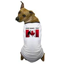 Custom Hockey Canadian Flag Dog T-Shirt