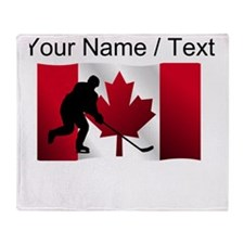 Custom Hockey Canadian Flag Throw Blanket