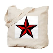 Punk Rock Red Nauticle Star Tote Bag