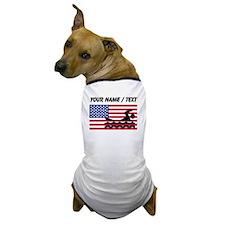 Custom Swimming American Flag Dog T-Shirt