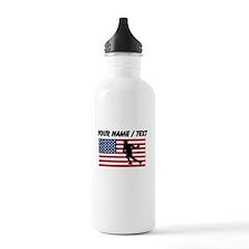Custom Lacrosse American Flag Sports Water Bottle