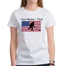 Custom Hockey American Flag T-Shirt