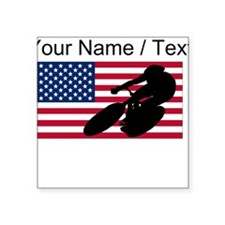 Custom Cycling American Flag Sticker