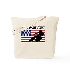 Custom Cycling American Flag Tote Bag