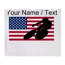 Custom Cycling American Flag Throw Blanket