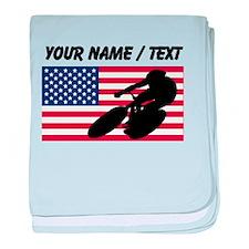Custom Cycling American Flag baby blanket