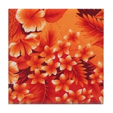 Orange Hibiscus Tile Coaster