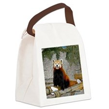 Red Panda Raspberry Canvas Lunch Bag