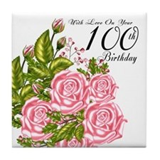 100th Birthday Pink Rose Tile Coaster