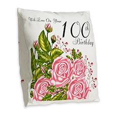 100th Birthday Pink Rose Burlap Throw Pillow