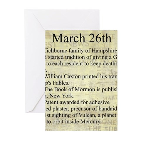 March 26th Greeting Cards