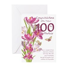 100th Pink Crocus Greeting Cards (pk Of 10)
