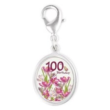 100th Birthday Pink Crocus Silver Oval Charms